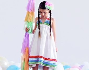 Girls white dress cotton colorful frilly summer dress.
