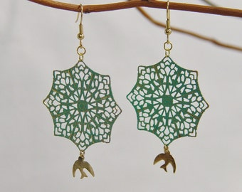 Antique Lace with Birds Earrings