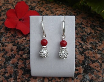 Earrings with coral and sparkling Rhinestones, 925 Silver!