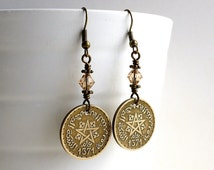 Coin earrings, Morocco, Coin jewelry, Swarovski earrings, Light Colorado topaz, Pagan, Black magic, Upcycled earrings, Repurposed coin, 1952