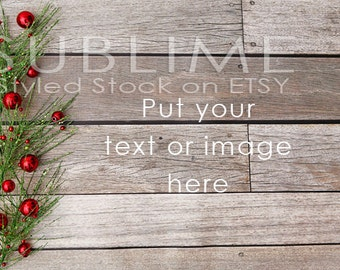 Christmas Styled Stock / Christmas Stock / Wood Background / Christmas Mock Up / Christmas Desktop / Christmas Photo / StockStyle-595