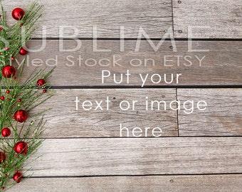 Christmas Styled Stock / Christmas Stock / Wood Background / Christmas Mock Up / Christmas Desktop / Christmas Photo / StockStyle-595