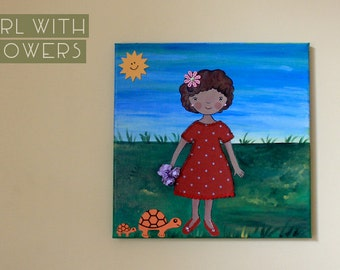 Girl with flowers and turtles - 3D painting children's collage - kids gift - OOAK kids decoration
