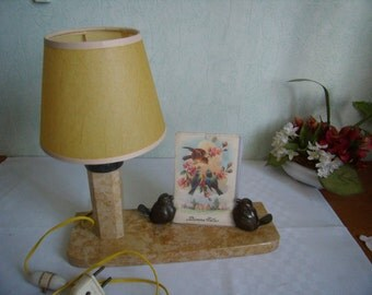 Rare Vintage Art deco french Table photo holder, brass, a marble base, lamp birds birds, french lamp vintage