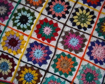 new baby blanket, crochet Afghan, Granny plaid multicolored, patchwork squares, handmade, birth, Christmas gift.