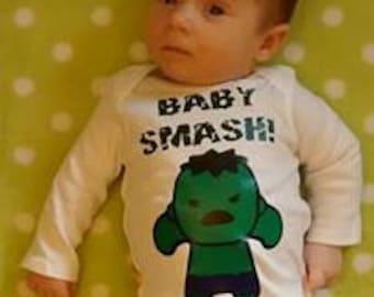 SHORT SLEEVE - Incredible Hulk Baby Smash Baby Onesie or T-shirt - short sleeve