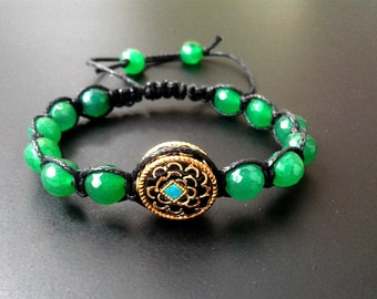 Shamballa Bracelet Macrame Woman Bracelet Green beads Black Gift  Woman