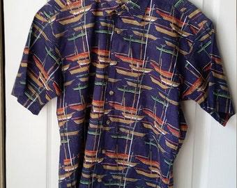 Hawaiian Shirt AVI Collection by Kahala SMALL Men's AVI Sailboat Design Short Sleeve Yacht & Beach Shirt Vintage Hawaiian Islands