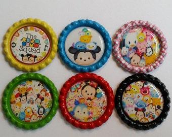 Set of 6 Disney Tsum Tsum themed Finished Bottle Caps - Magnet Set - Necklace Set