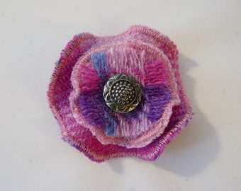 Tartan Harris Tweed Flower Brooch, Handmade Corsage, Ladies Scottish Gift, Handmade Brooch