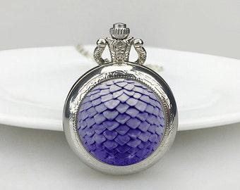Purple dragon scale Pocket Watch, Dragon scale Necklace,  Dragon Necklace, Dragon, pocket watch, Valentine's Day gift,Necklace, Dragon