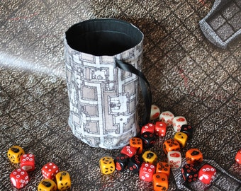 Dungeons and Dragons Dice Bag large with unique dungeon design Handmade and fully lined