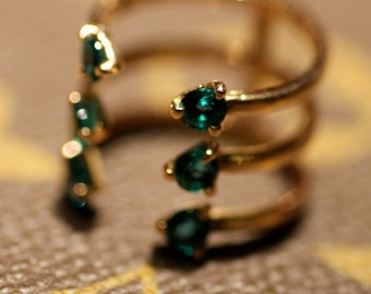 Triple gold ring Gold ring with green stone Open ring Green quartz ring Natural stone Green stone ring Gift idea