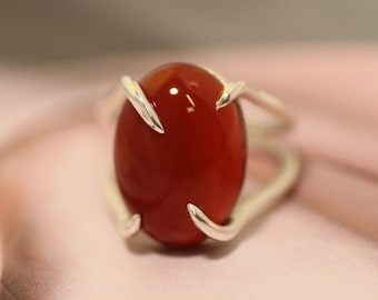 red agate ring - carnelian ring - gold ring - natural stone ring - red agate - silver ring - gift