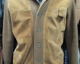 Blazer uomo anni 50 in lana e pelle scamosciata/ 1950's men blazer /Wool and suede/Made in Italy