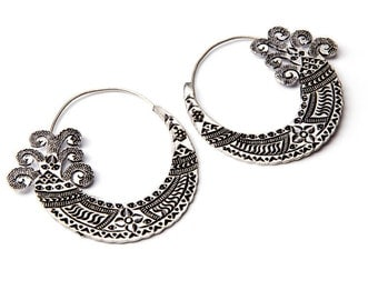 White Brass Tribal Indian Inspired Earrings Tribal Earrings Mandala Jewellery Free UK Delivery Gift Boxed WB58