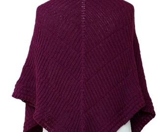 woolen ruby red shawl, handknit wrap, warm scarf, triangle shawl, purple red handknit shawl