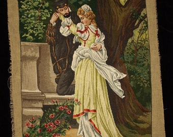 Large Vintage Needlepoint Liezenmaier: Faust and Margareta Gobelin