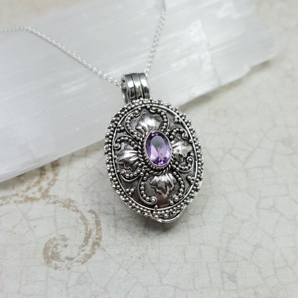 stash necklace amethyst secret box necklace filigree pill
