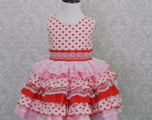 FREE SHIPPING! Girls Valentine Dress, Pink & Red Ruffle Dress, Toddler Valentine Dress, Pageant Dress, Pageant Theme Wear, 3T Ready to Ship