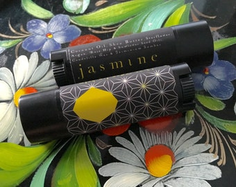 Jasmine Lip balm, Essential Oil, All Natural, Pure Vegan, 100% Natural, Jasmin, botanical aromatherapy, floral, black Oval tube