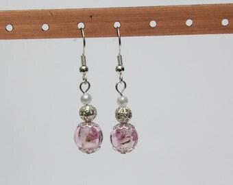Delicate Rose Pearl Earrings