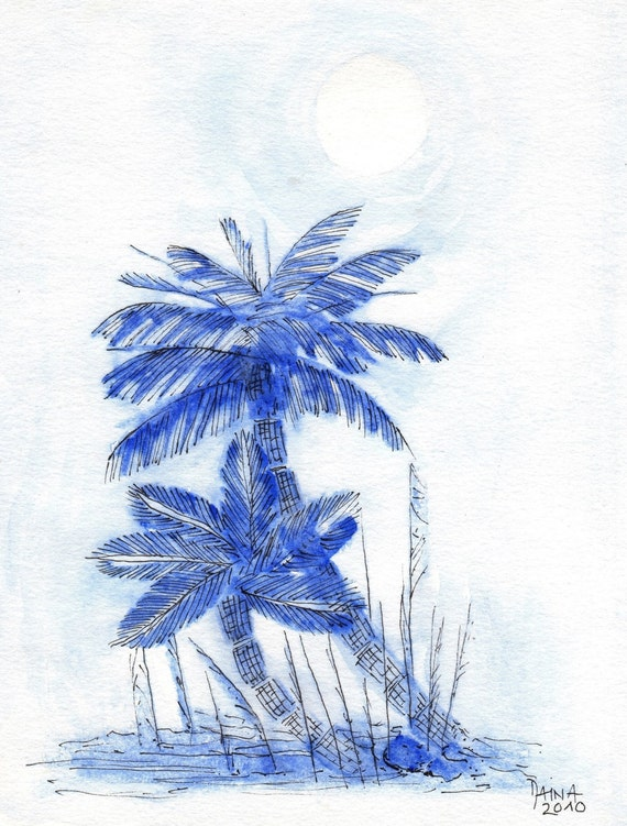 Blue Hour Under Palm Trees - Potato Print With Watercolors - Unique