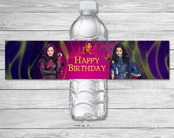 The Descendants Water Bottle Label Pink / The Descendants Birthday Party / The Descendants Drink Label Printable Favors / Mal and Evie