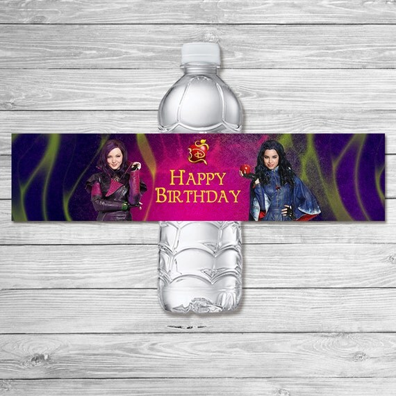The Descendants Water Bottle Label Chalkboard / The Descendants Birthday Party / The Descendants Drink Label Printable Favors / Mal and Evie