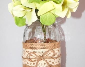 Rustic Wedding Decor - Wedding Centerpiece - Burlap Wedding Decor - Mason Jar Centerpiece - Rustic Wedding - Barn Wedding - Country Wedding