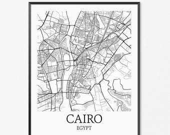 Cairo Map Art Print, Cairo Poster Map of Cairo Decor, Cairo Map Art, Cairo Gift, Cairo Egypt Art Poster