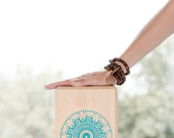 Yoga block made of maple. mandala aqua.