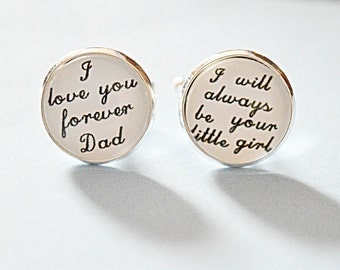 Father of the bride cufflinks, I love you forever Dad, I will always be your little girl cufflinks, Wedding day keepsake gift, dad cuff link