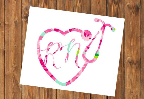 Free Shipping-Monogram Decal, Nurse,Doctor, Nurse Practitioner, RN, LVN, LPN, Yeti, Laptop,Monogram Sticker, Stethoscope, Heart,Nursing