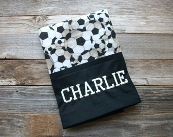 """Personalized Soccer Pillowcase, Standard Size, 20"""" x 30"""", 100% Cotton ***Choose your name color!"""