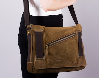 Vintage cross over bag - suede leather bag - shoulder bag - 90 s bag - brown suede bag - unisex bag - uni - hipster