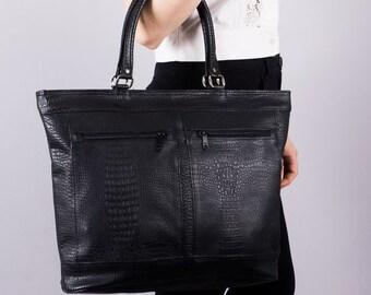 Vintage tote bag - tote - bag - 90 s - business bag - black - leatherette - reptile embossed - elegant - Pocket shopper