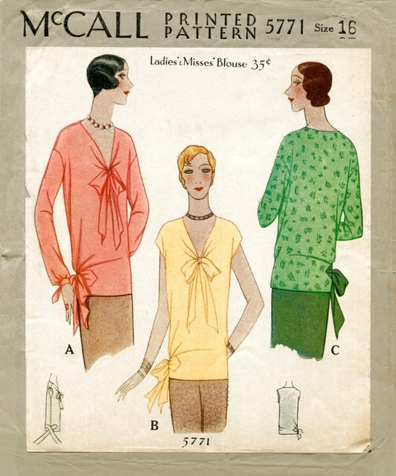 1920s Style Blouses, Shirts, Sweaters, Cardigans 1920s 20s vintage sewing pattern flapper blouse tie collar bow bust 34 b34 reproduction $19.50 AT vintagedancer.com
