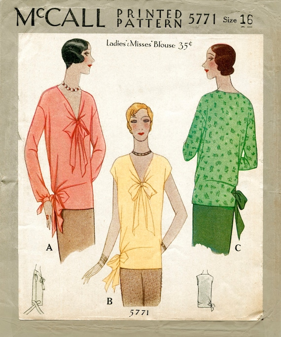 1920s Blouses & Shirts History 1920s 20s vintage sewing pattern flapper blouse tie collar bow bust 34 b34 reproduction $19.50 AT vintagedancer.com