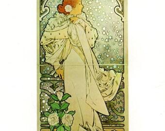 Alphonse MUCHA 1976 Authentic Vintage Art Nouveau PRINT 1896 La Dame Aux Camelias