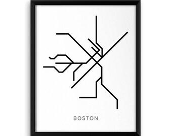 Boston Transit Map Poster - Illustrated City Art of Subway Map & Mass Transit Lines in Black Ink - Public Transit - Black Line Art