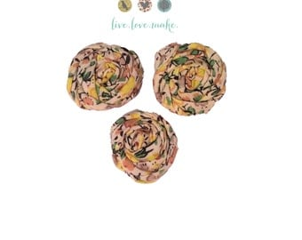 """1.5"""" Ivory-Cream Floral-Mini Rolled Fabric Rosettes-Yellow-Pink-Rosette-Fabric Flower-Rolled-Rose-Shabby Chic-small-petite-mini-cotton"""