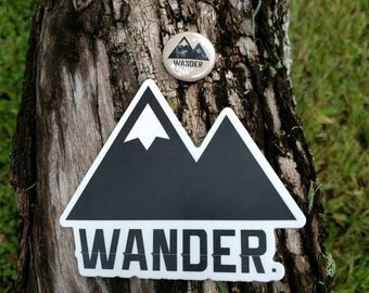 Traveler Kit and Co Wander Sticker and Button // Adventure Travel Decal Car Laptop Road trip Explore Wanderlust Wunderlust