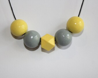 Yellow and grey hand painted wooden bead necklace