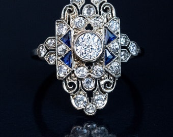Ornate Art Deco Diamond Sapphire Engagement Ring