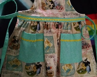 Girls Apron Girls Easter Apron with Pockets Toddler Easter Size (3-4)