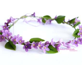 Wedding hair crown, cold porcelain lilac floral jewelry, violet flowers headband, wreath with lilacs