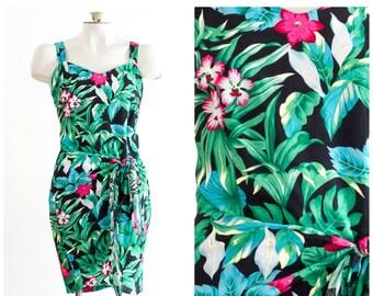 Hawaiian sleeveless wrap dress with tropical flower print