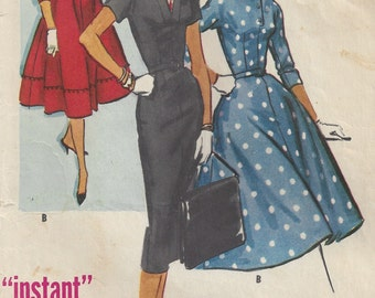 1950's Sheath Full-Skirt Dress 3/4 Dolman Sleeves Small Collar, V Neck, Belt with Buckle Instructions McCall's 3962, Junior Size 15, Bust 35