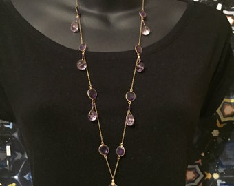 Multi-Colored Amethyst Long Necklace